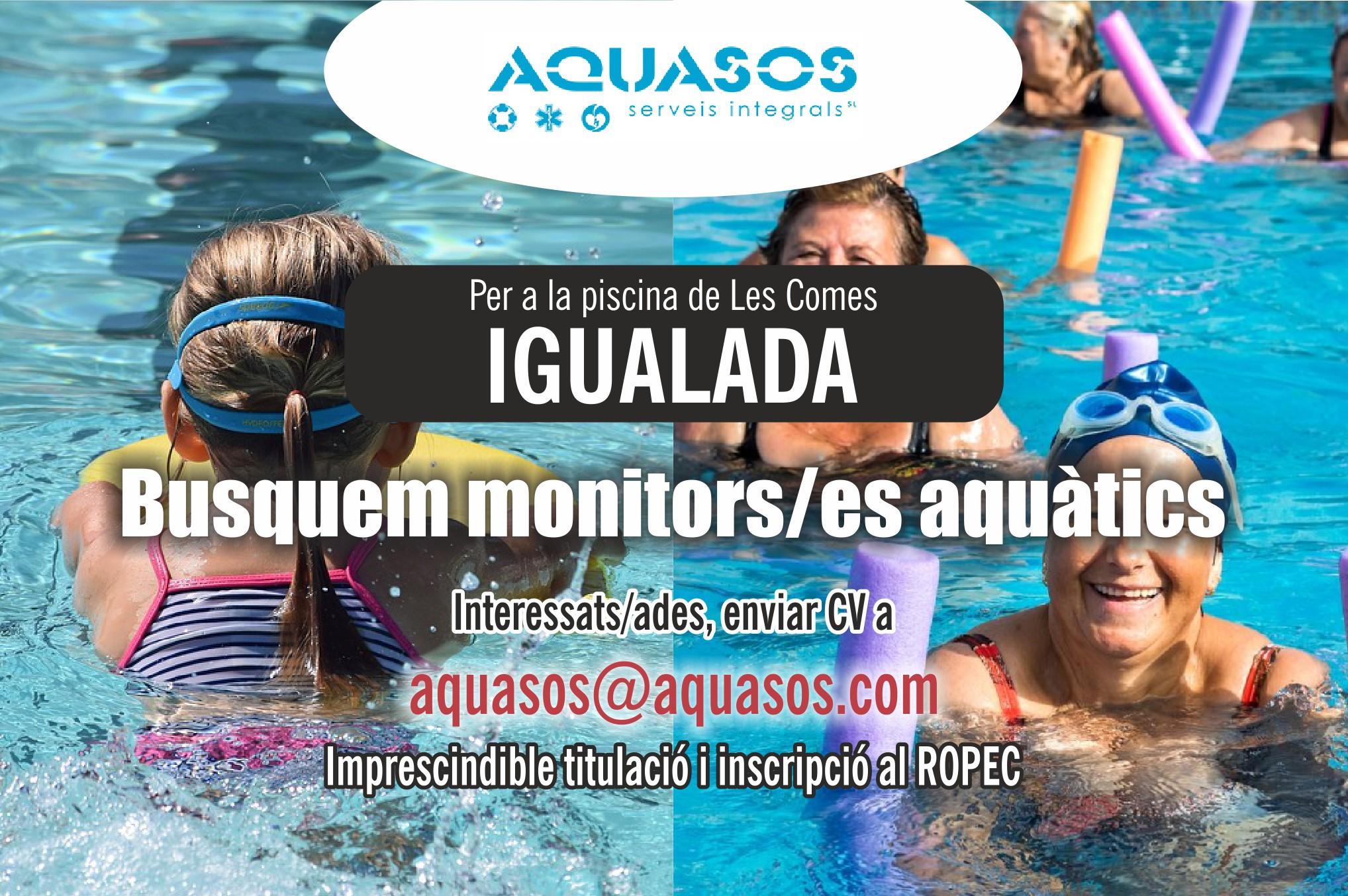 Busquem monitors/es aquàtics per a la piscina de Les Comes d'Igualada