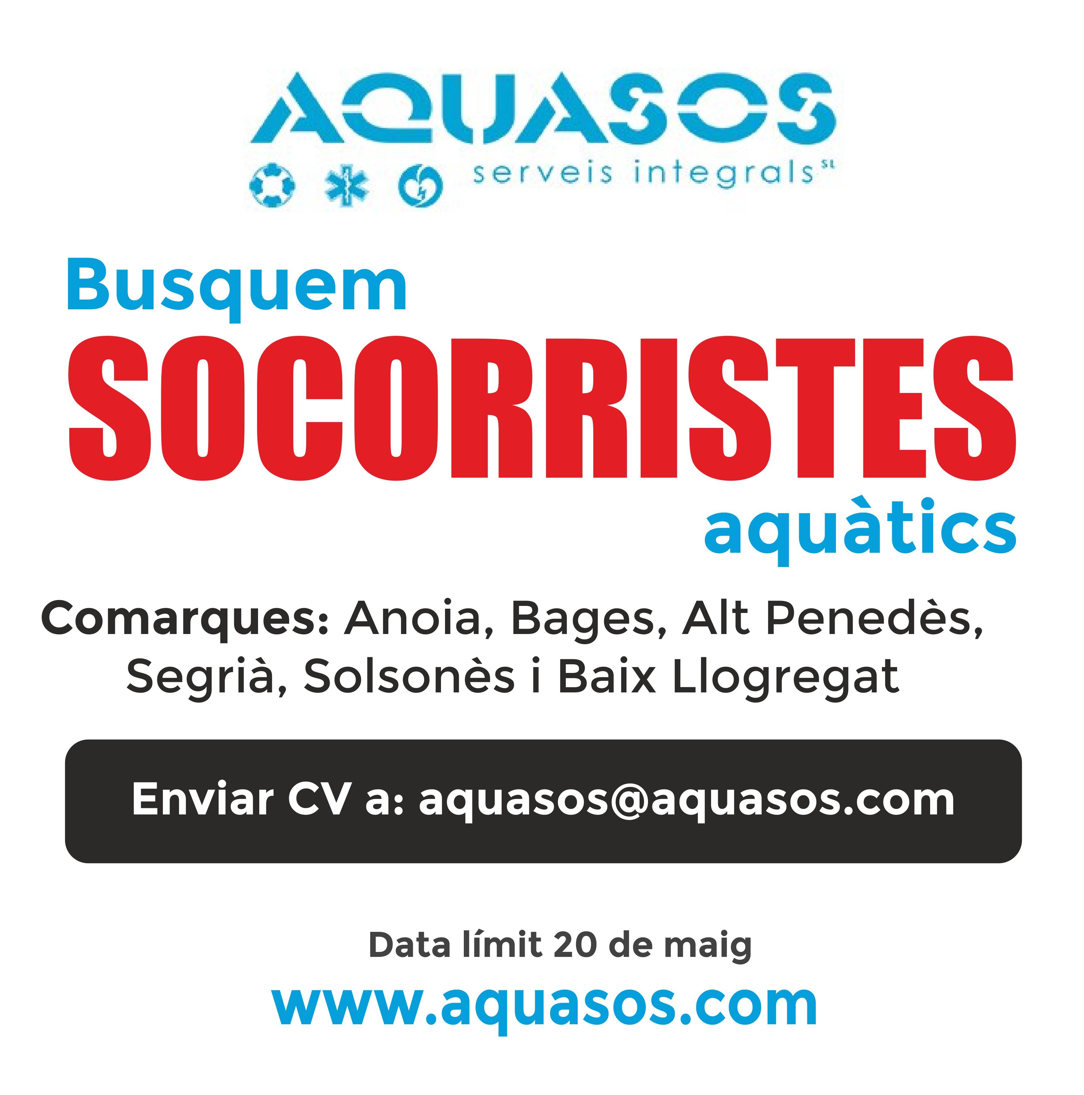 Busquem socorristes a l'Anoia, el Bages, l'Alt Penedés, el Segrià, el Solsonès i el Baix Llobregat