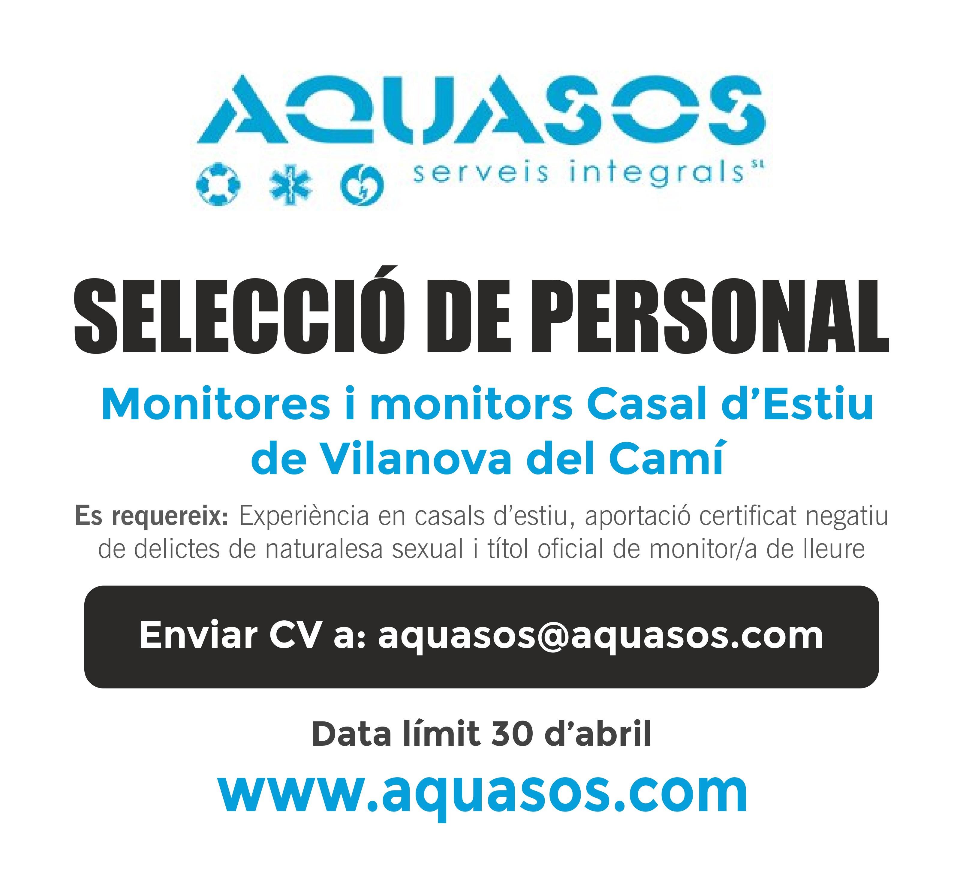 Busquem monitores i monitors per al Casal d'Estiu de Vilanova del Camí